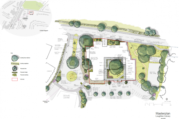 The proposed landscaping around the library building